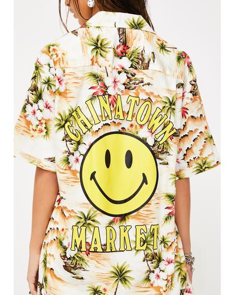 Smiley Logo Hawaiian Shirt