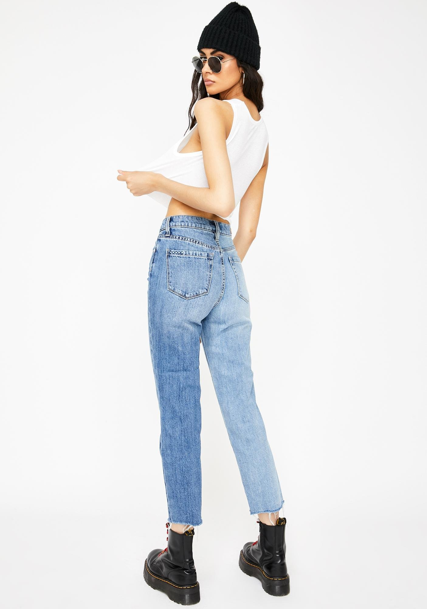 Blank NYC Showstopper Asymmetric Two-Tone Cropped Jeans