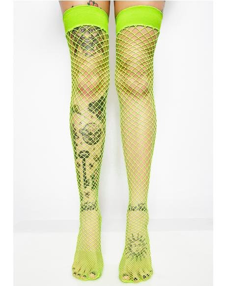 Deadly Kisses Fishnet Thigh Highs