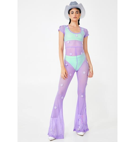 Willows Call Daisy Lilac Mesh Jumpsuit
