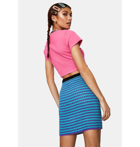 The Ragged Priest Zane Striped Knit Mini Skirt