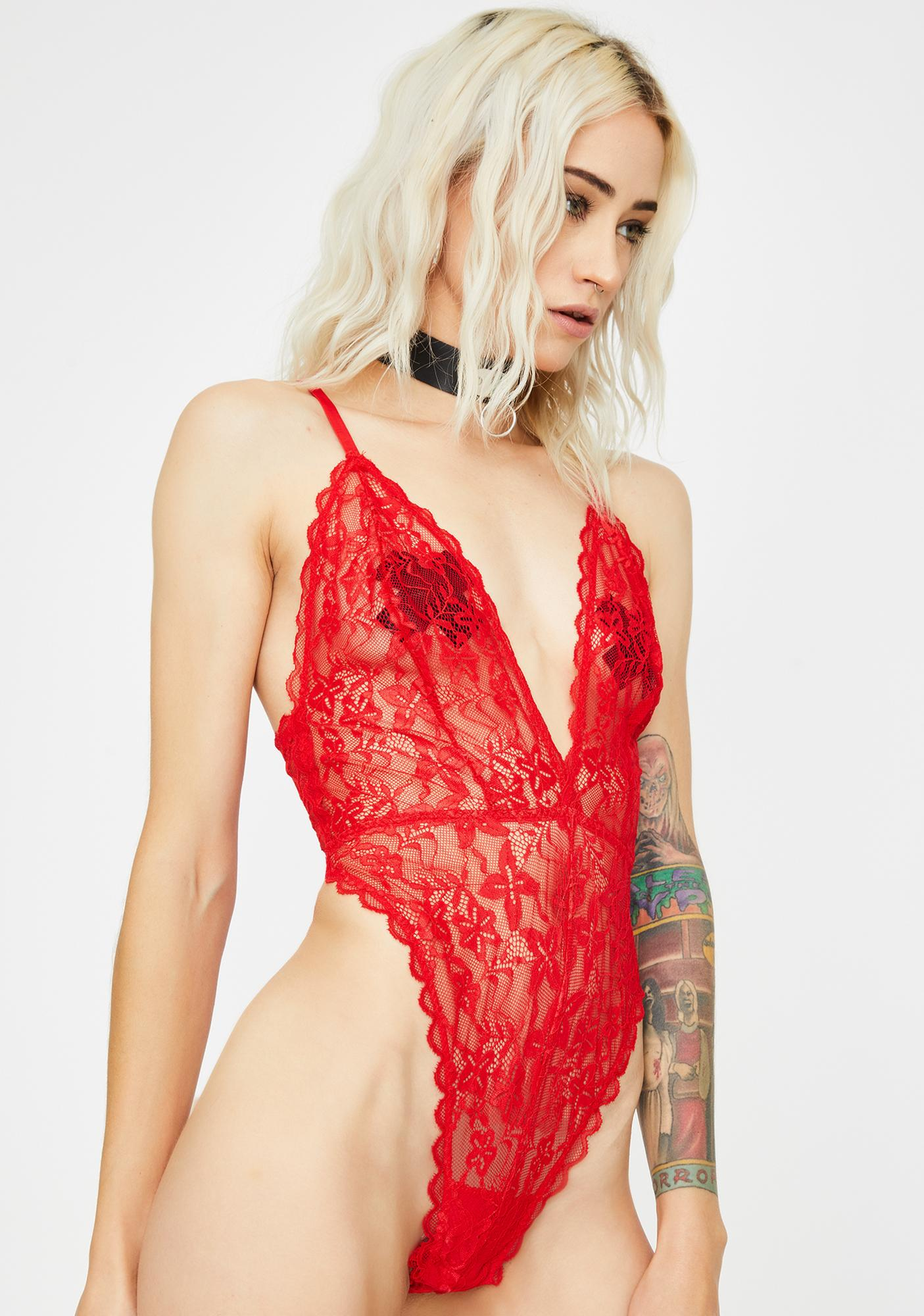 Cherry Dressed To Undress Lace Bodysuit