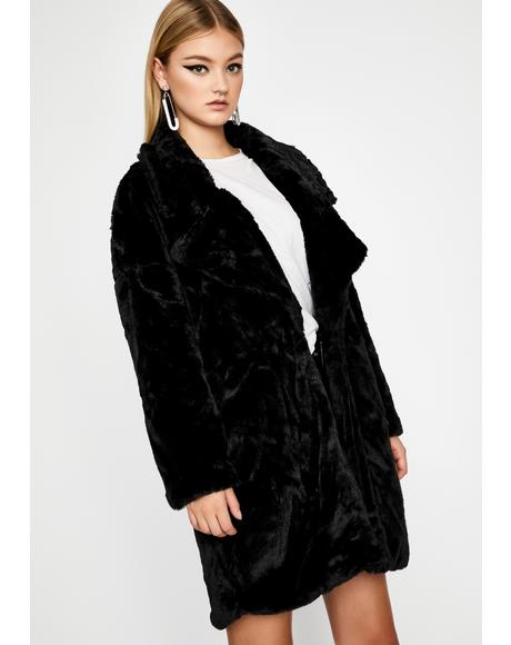 Noir Spill My Emotions Faux Fur Jacket