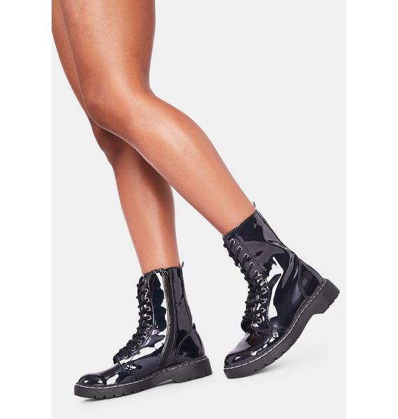 T.U.K. Black Gas Patent 10 Eye Boots