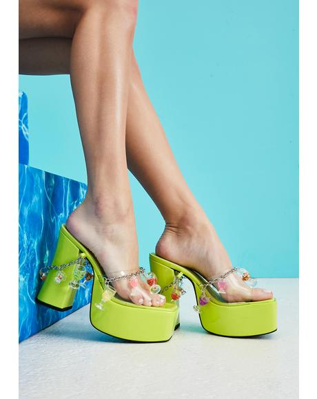 Drink Happy Thoughts Platform Sandals