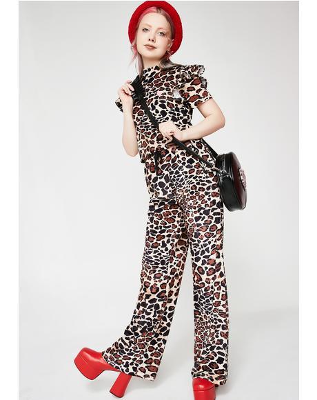 Leopard Velour Track Pants
