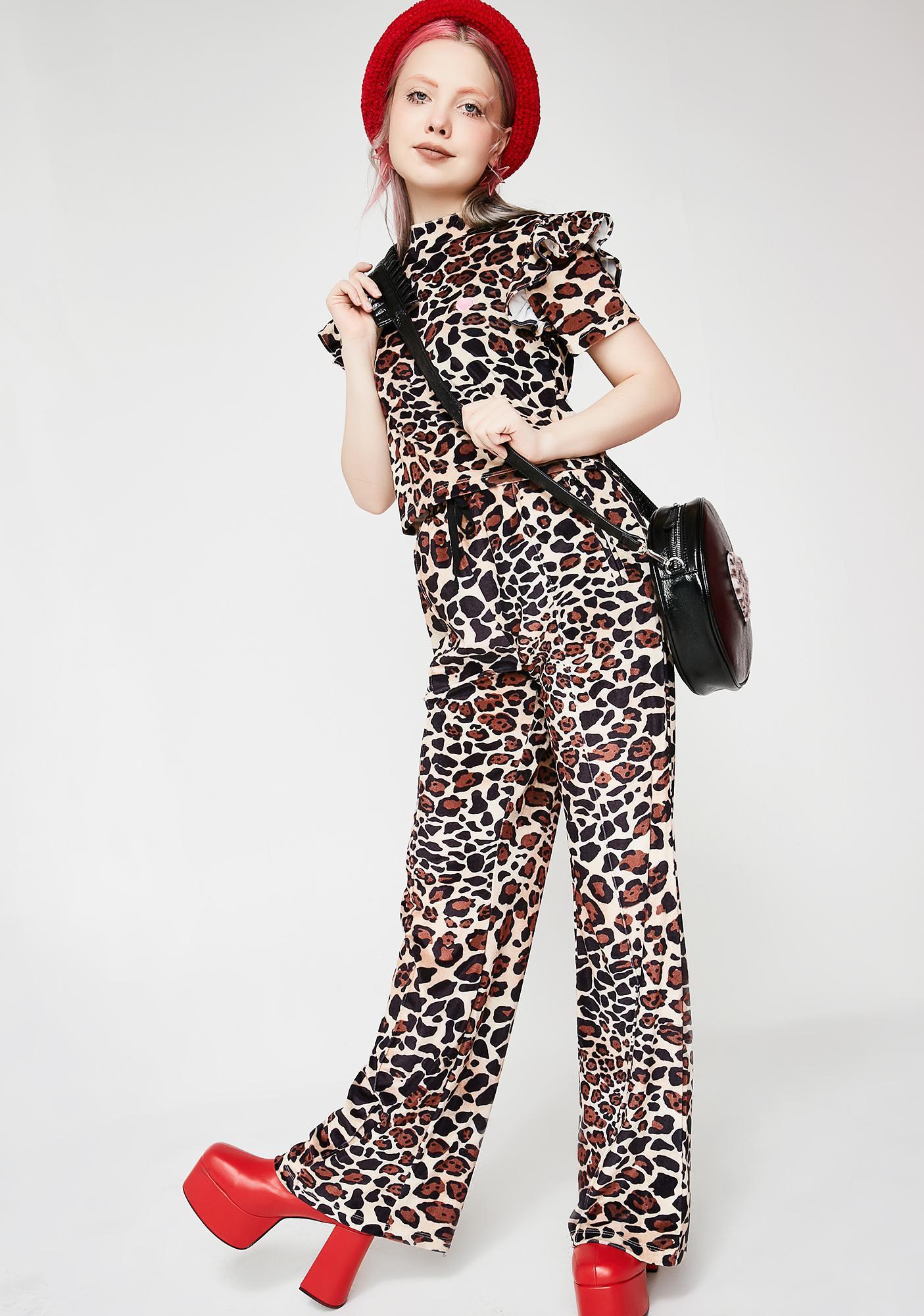 Lazy Oaf Leopard Velour Track Pants