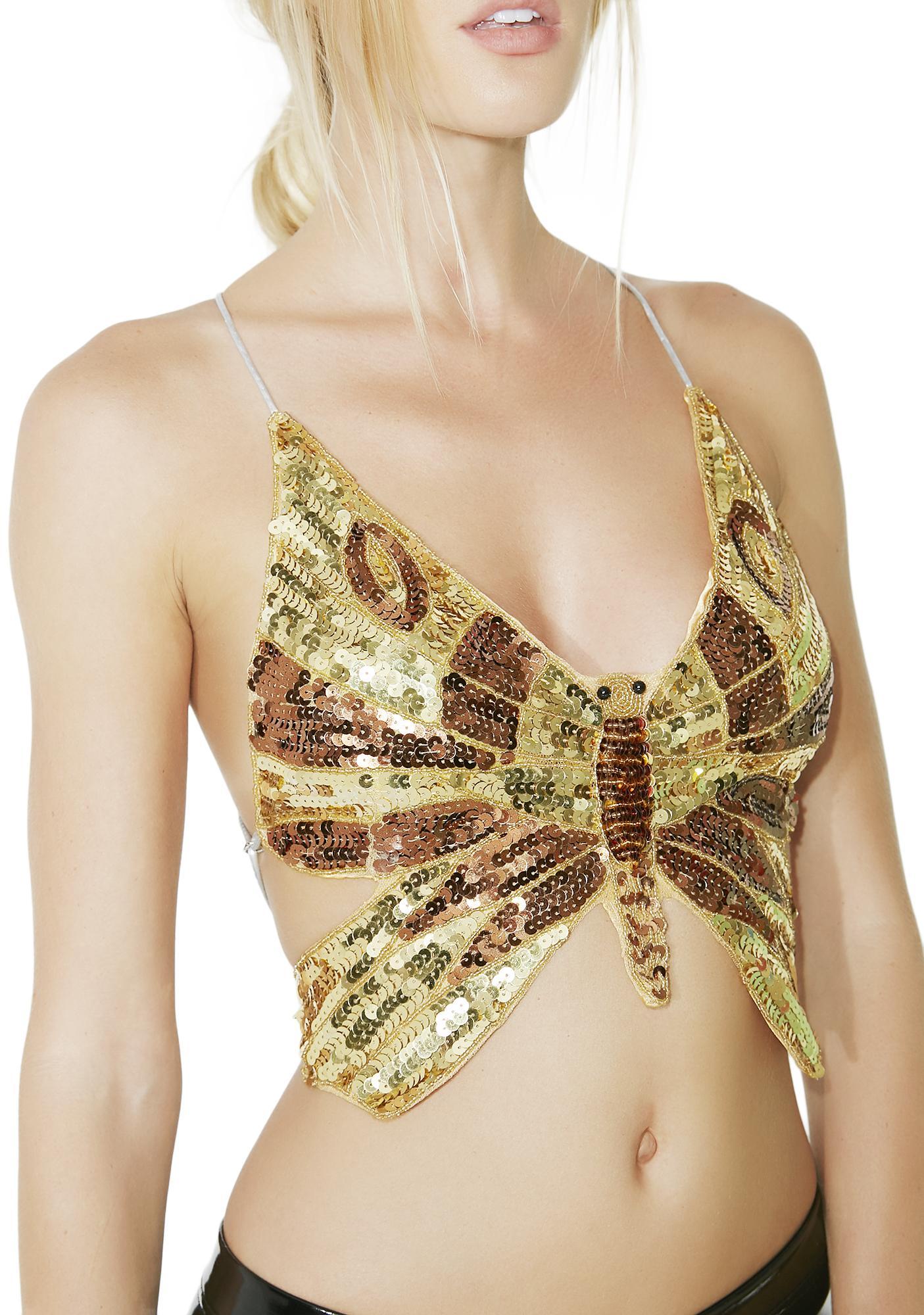 Gilded Metamorphosis Sequin Butterfly Top