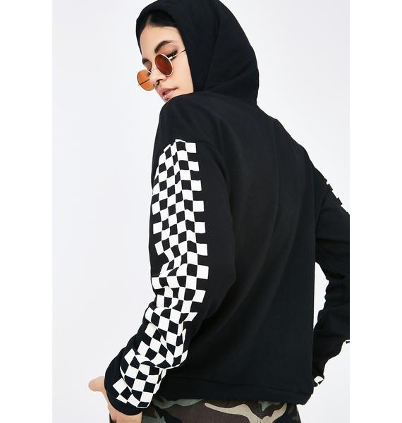 Push To Start Checkered Hoodie