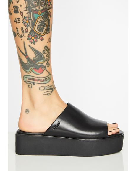 Sin Bonnie Leather Platform Slides