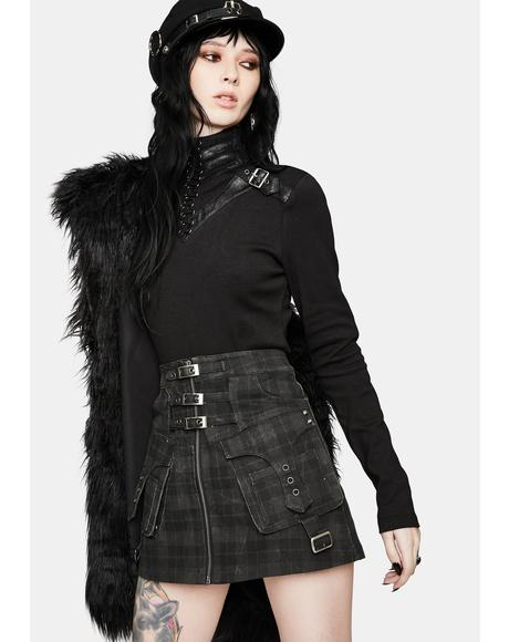 Punk Mini Plaid Buckle Cargo Skirt