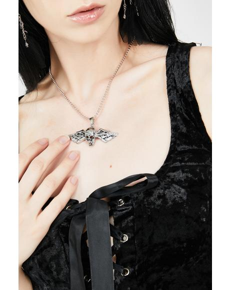 Flight To Hell Skull Necklace