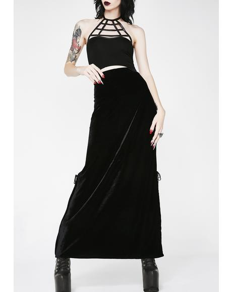 Aura Velvet Maxi Skirt