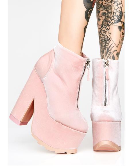 Sweet Velvet Nightmare Platform Boots