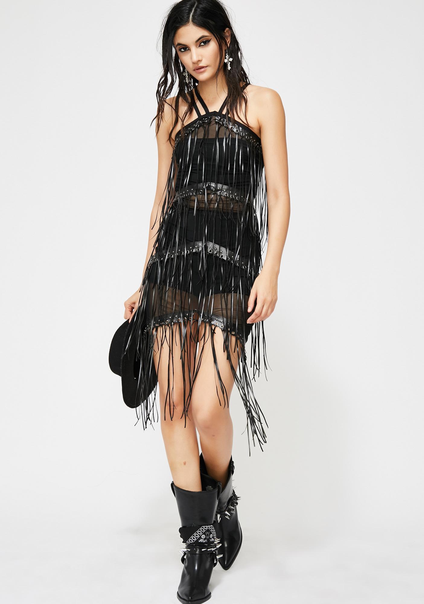 Desperado Sheer Fringe Dress