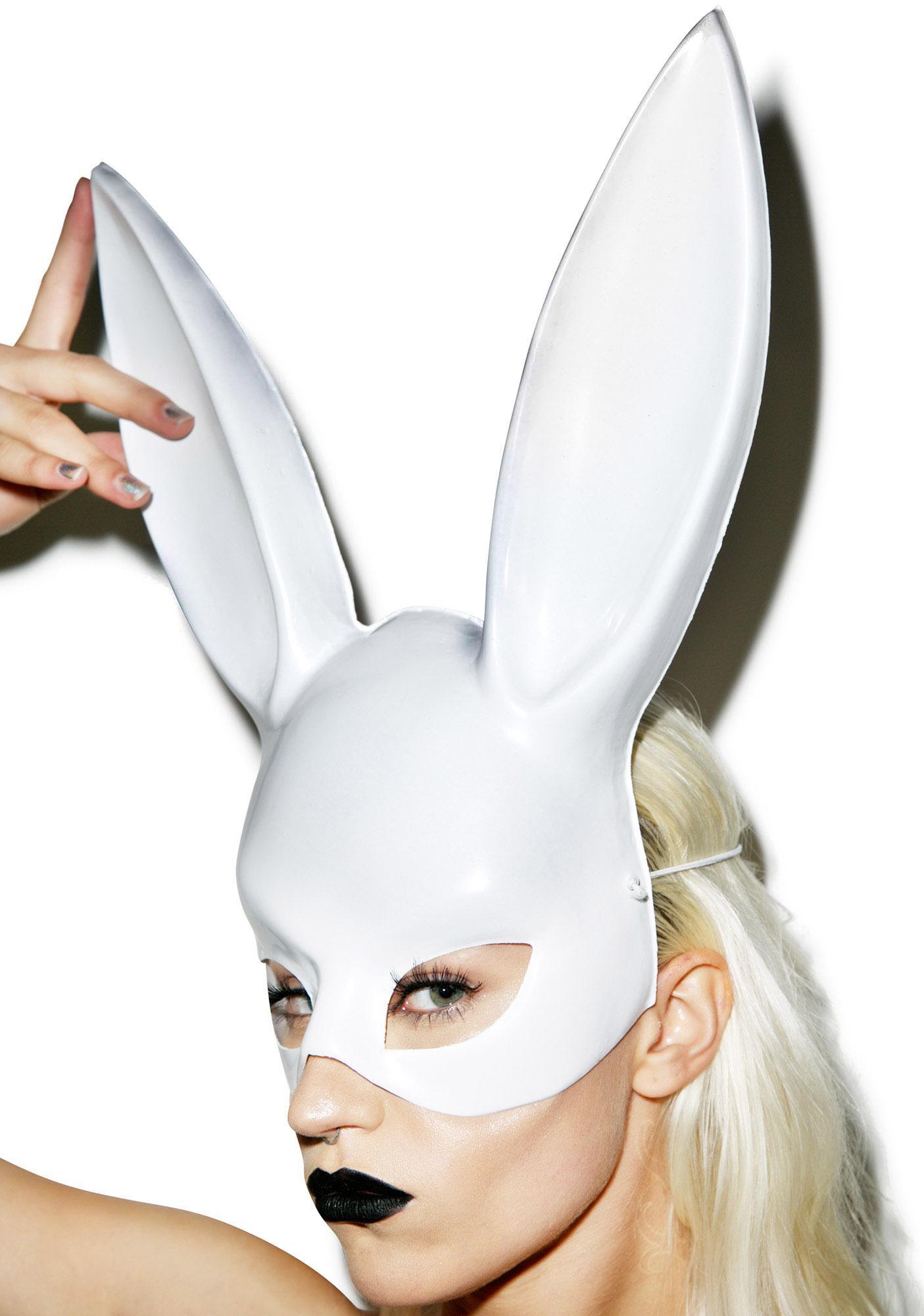 Luxury White Rabbit Mask - Bespoke Masks, Headdresses ... |Rabbit Face Mask