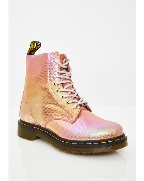 1460 Pascal Pink Duo Chrome Boots
