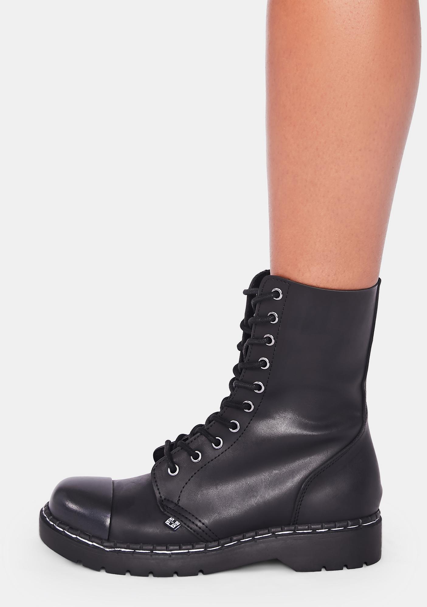 T.U.K. Black Matte Steel Cap 10-Eye Boot