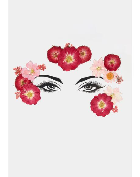 Red Pink Flowers Face Stickers