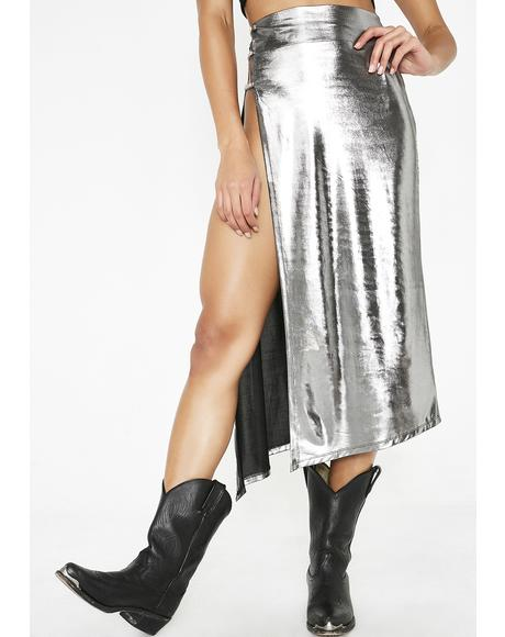 Gunmetal Currency Couture Midi Skirt