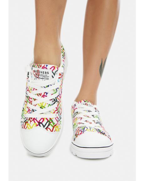 x JGoldcrown White Hashtag Love Roadies Sneakers