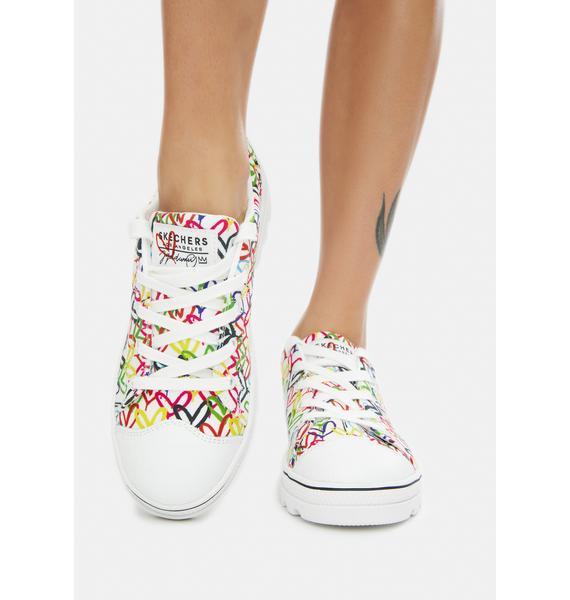Skechers x JGoldcrown White Hashtag Love Roadies Sneakers