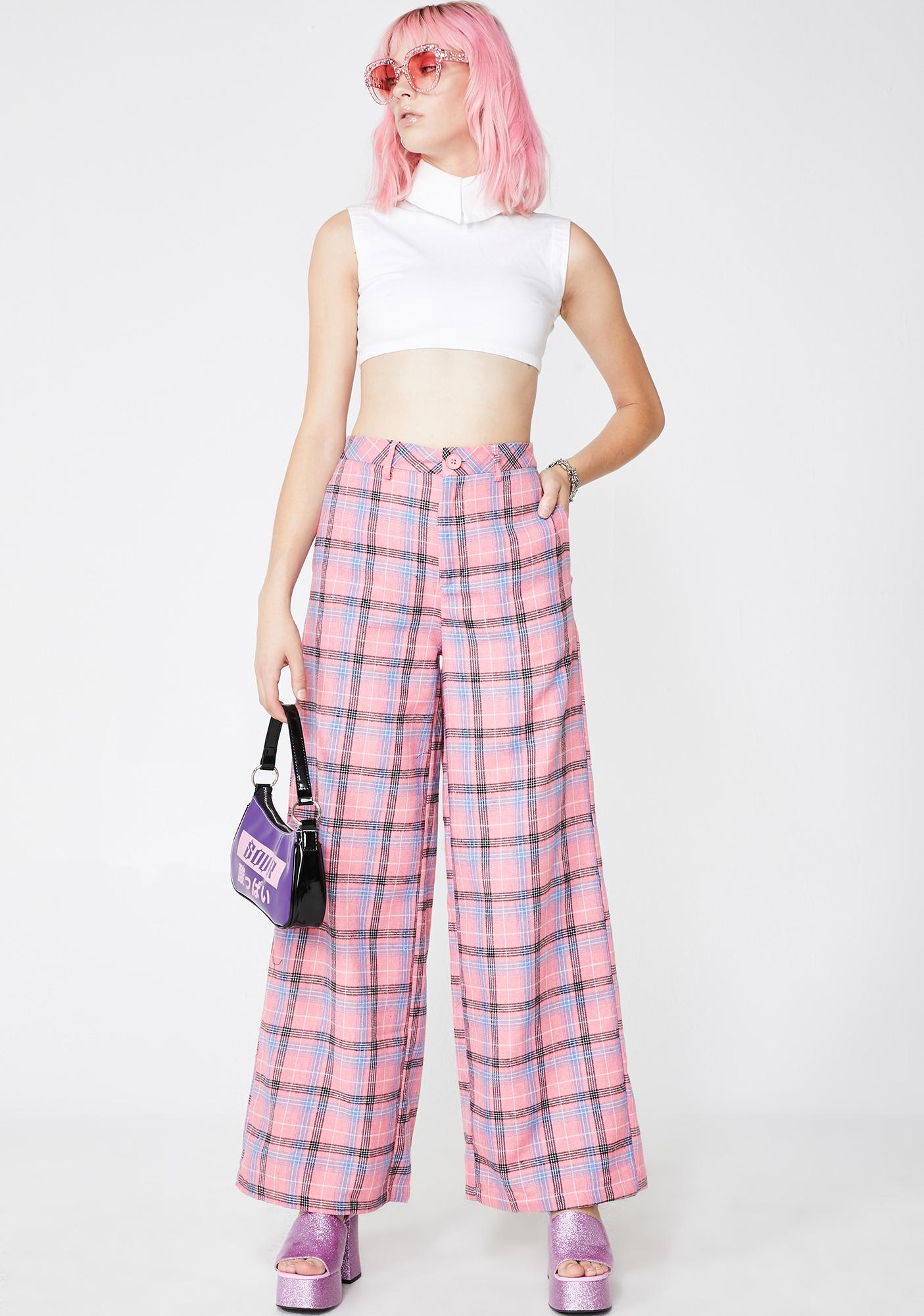 Daisy Street Pink Check Wide Leg Trousers