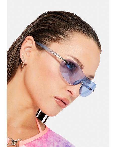 Blue Curve Color Shield Sunglasses