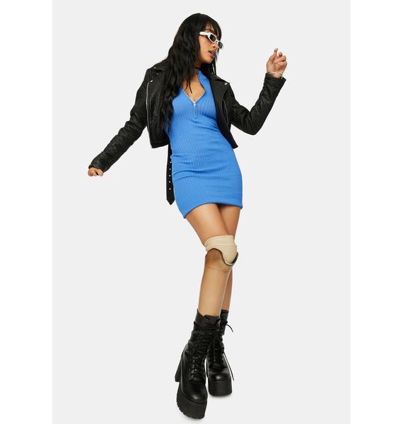 Aqua Lady Luck Ribbed Mini Dress