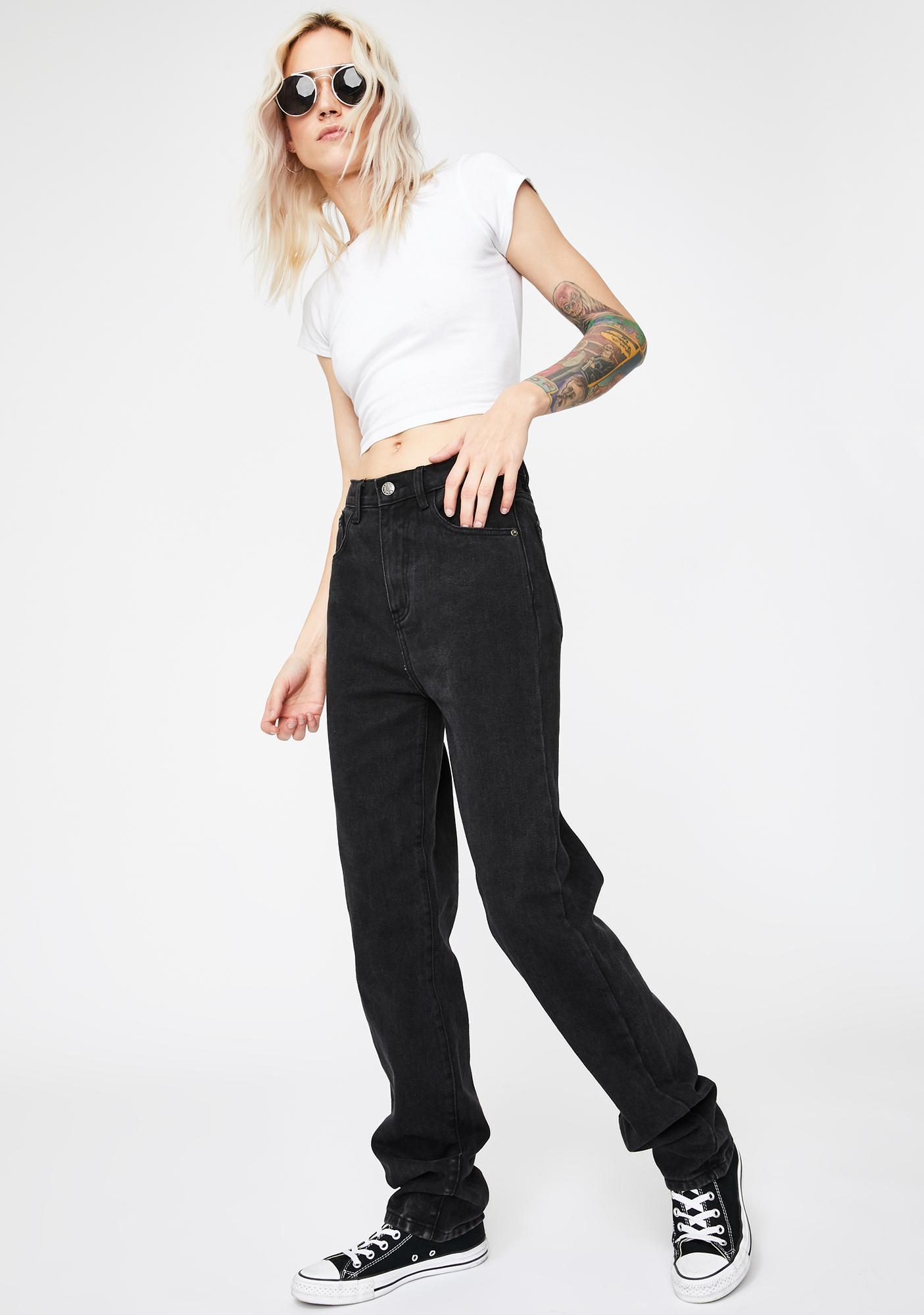 Momokrom Washed Black Extra Long Straight Leg Jeans