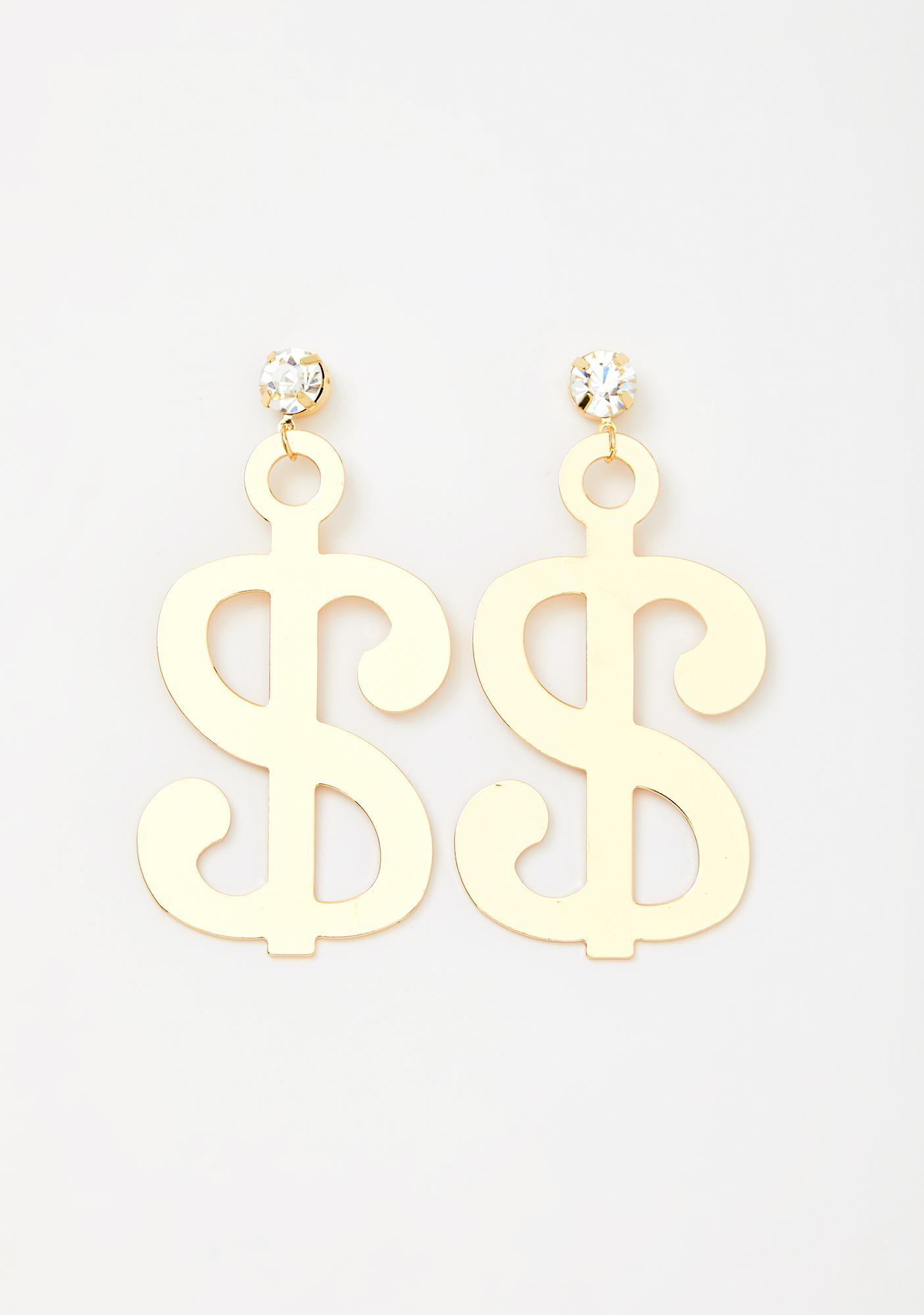 Money Hungry Dollar Sign Earrings