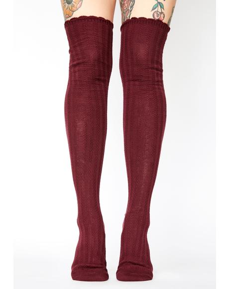 Port Linear Twist Over The Knee Socks