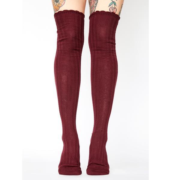 MeMoi Port Linear Twist Over The Knee Socks