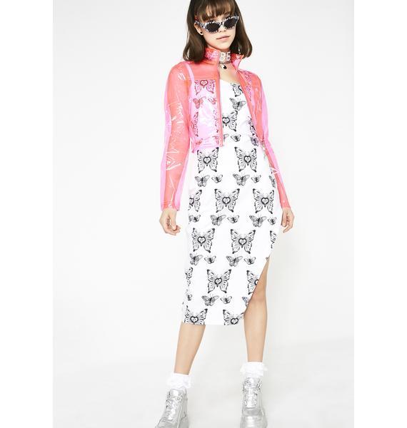 LOVE TOO TRUE Butterfly Midi Split Dress