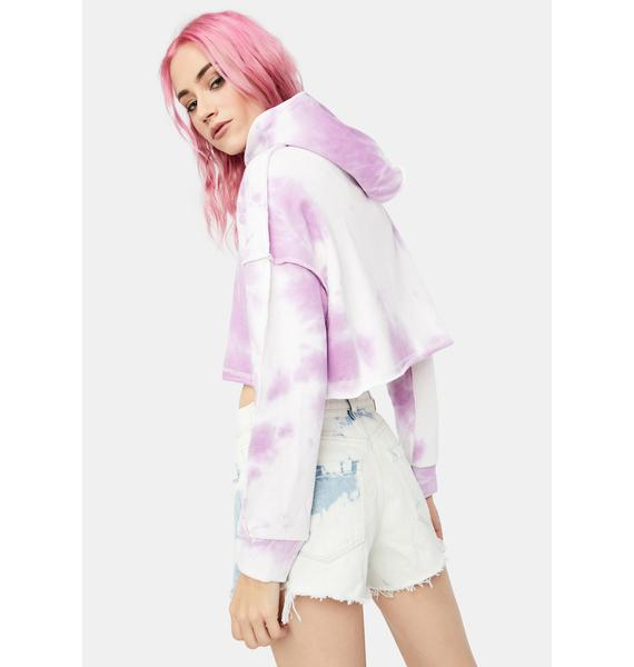 Lilac Easy There Tie Dye Cropped Hoodie