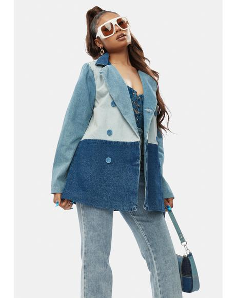 All Bets Off Colorblock Denim Jacket