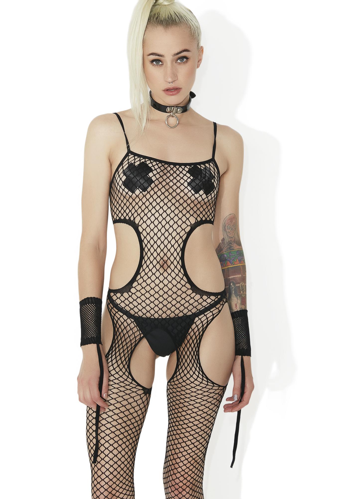 Fishnet Sheer Cut Out Restraint Cuffs Bodystocking Black