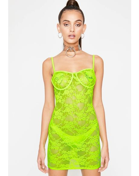 Lime Euphoric Envision Lace Dress