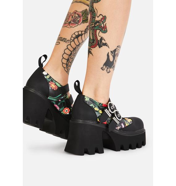 Lamoda Watch Me Bloom Double Strap Mary Janes