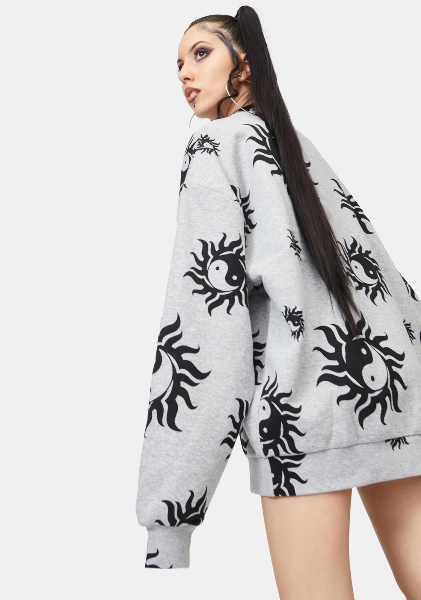 NEW GIRL ORDER Yin Yang Marl Crewneck Sweatshirt