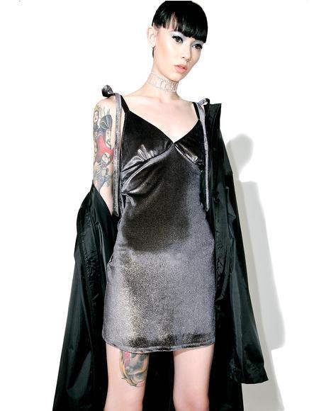 Foil Velvet Slip Dress