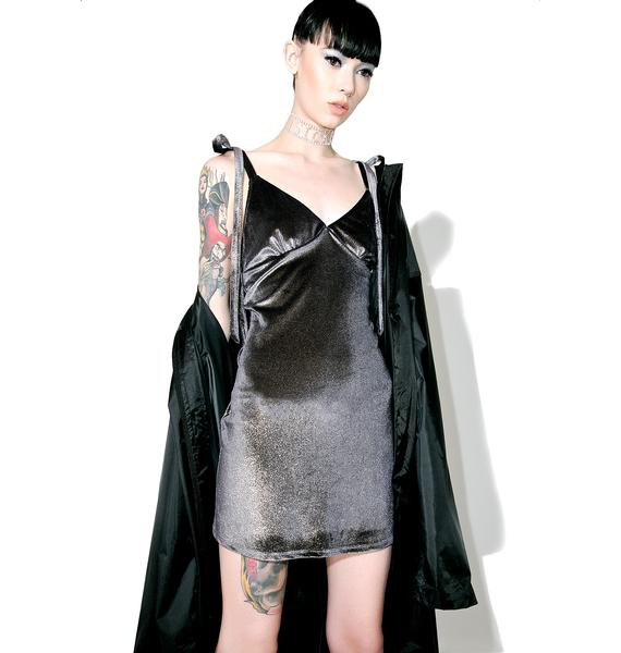 Jaded London Foil Velvet Slip Dress