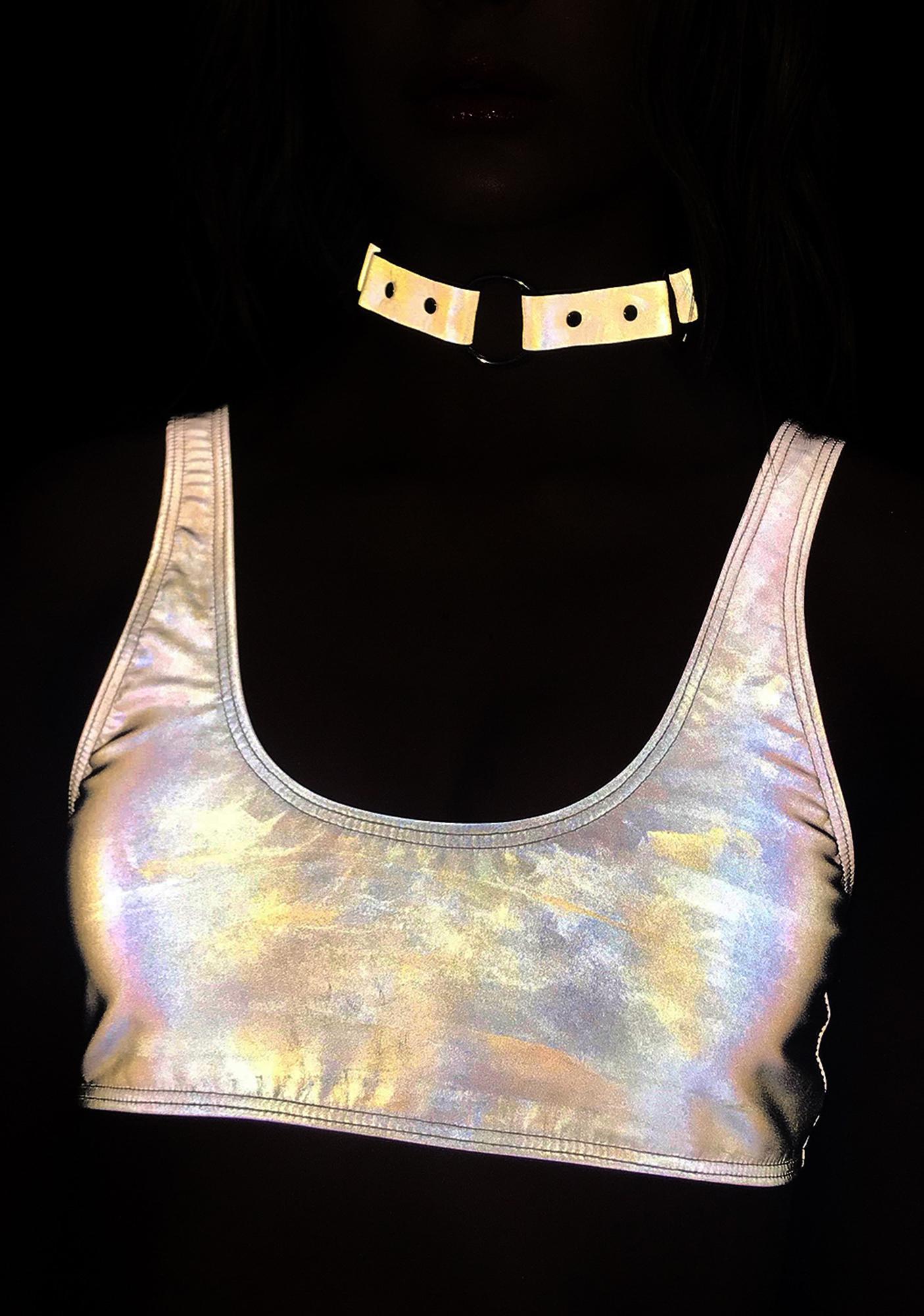 Jaded London Reflective Crop Bikini Top
