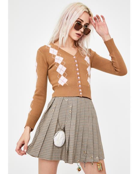 Argyle Cropped Knit Cardigan