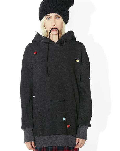 Multi Colored Heart Embroidery Relax Hoodie