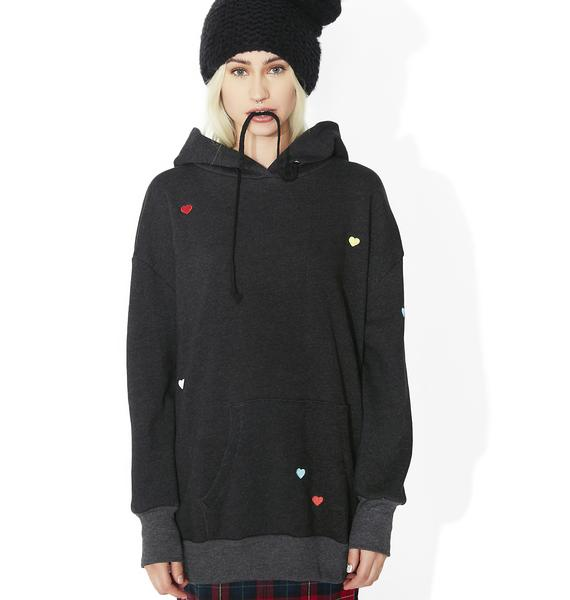 Wildfox Couture Multi Colored Heart Embroidery Relax Hoodie