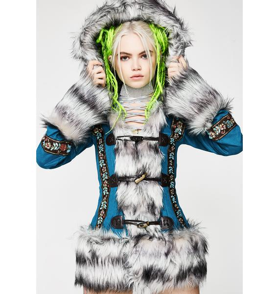 J Valentine Teal Eskimo Kisses Mohair Jacket