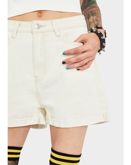 Ecru Rolled Hem Denim Shorts