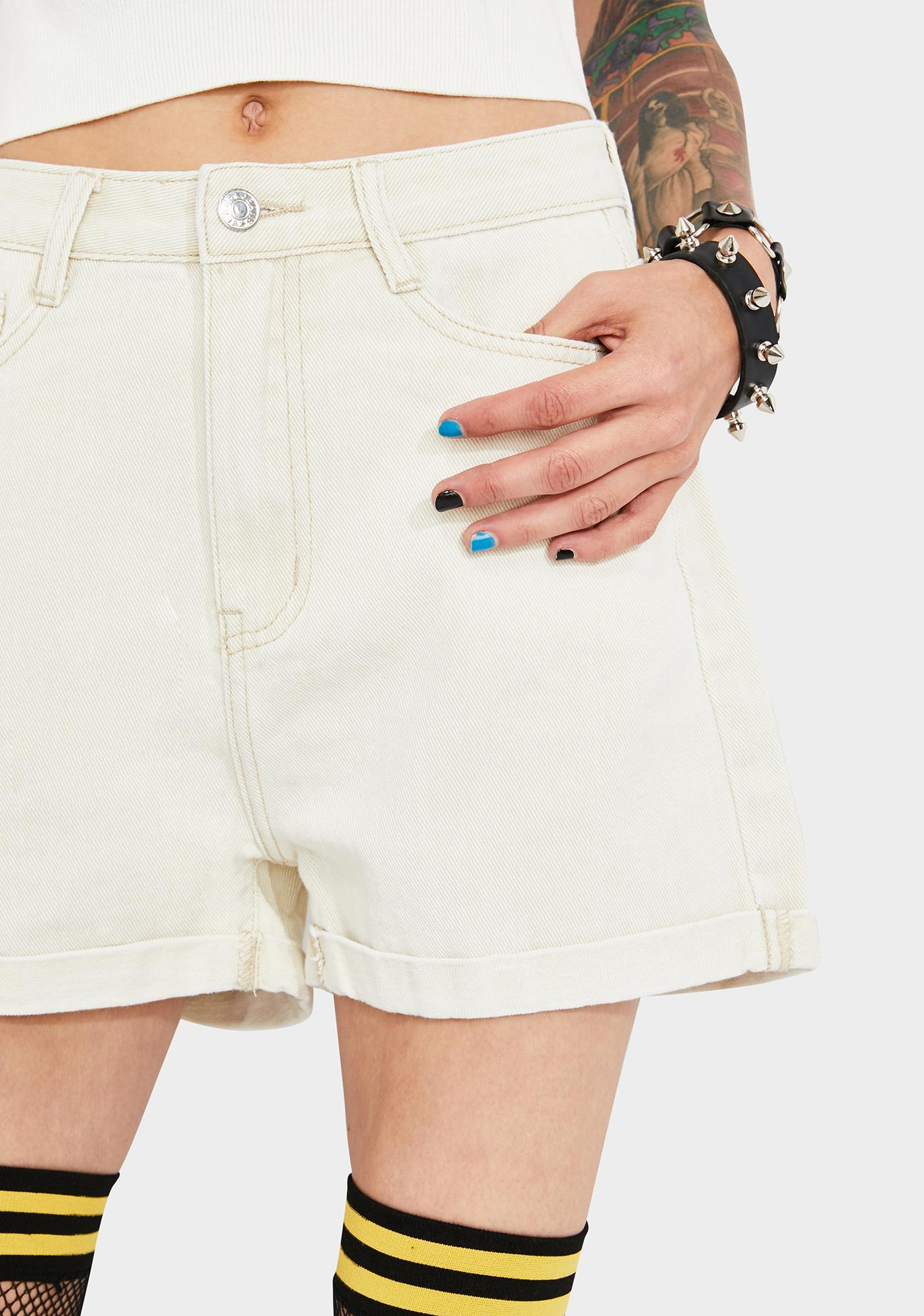 Momokrom Ecru Rolled Hem Denim Shorts