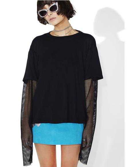 Two Timer Mesh Sleeve Top